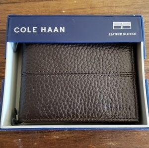 Cole Haan Chocolate Leather Slim Billfold Wallet